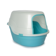 "Cat Litter Pan w/Hood & Door Trim 25.6 x 17.7 x 17"" Blue"