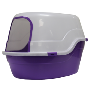"Cat Litter Pan w/Hood and Door Trim 25.6 x 17.7 x 17"" Purple"