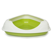 Triangle Cat Litter Pan w/Rim Green
