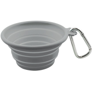 FFD Pet Silicone Collapsible Travel Bowl Grey MED