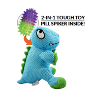 FouFIT Dino Pill Spiker 2-in-1 Dog Toy Blue