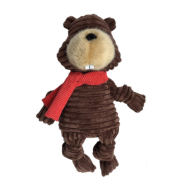 "Foufou Knotted Holiday Toy Large Beaver 15"" Brown"