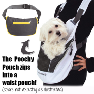 Foufou Poochy Pouch Wearable Dog Carrier Black MED