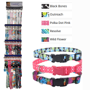 Pet Attire Styles Collar & 6 ft Leash Display 5 patterns