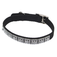 "Nylon Jeweled Collar 3/8x10"" Black"