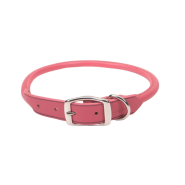 "CircleT Oak Tanned Leather Round Collar 1x22"" Pink"