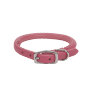 "CircleT Oak Tanned Leather Round Collar 3/8x12"" Pink"