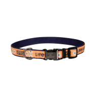 "Life is Good Dog Canvas Collar 5/8""x12-18"" Yellow GoodVibes"