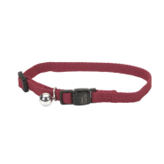 "New Earth Soy Adj Bkwy Cat Collar 12"" Cranberry"