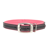 "Circle T Double-Ply Leather Collar 3/4""x16"" Black & Rose"