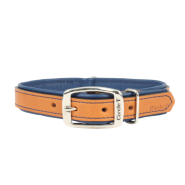 "Circle T Double-Ply Leather Collar 3/4""x16"" Tan & Navy"