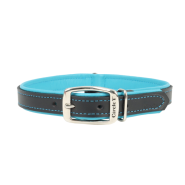 "Circle T Double-Ply Leather Collar 1""x24"" Black & Teal"