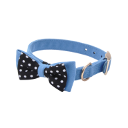 Accent Microfiber Collar Boho Blue w/Polka Dot Bow 5/8x16""
