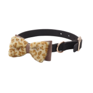 Accent Microfiber Collar Black w/Leopard Bow 5/8x16""