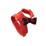 Accent Microfiber Harness Red w/Plaid Bow MED