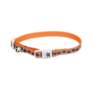 "LazerBrite Refl Bkwy Cat Collar 12"" Orange Paws"