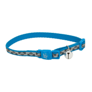 "LazerBrite Refl Bkwy Cat Collar 12"" Blue Lagoon Flowers"