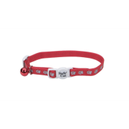 "SafeCat Refl SnagProof Nyl Bkwy Collar 12"" Paws Red"