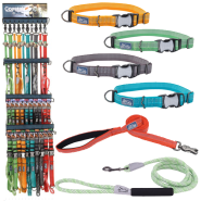 K9 Explorer Brights Five Color Collar and Leash Display
