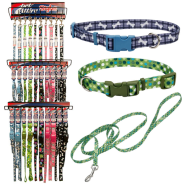 Pet Attire Styles Collar & 4 ft Leash 3 Tier Display