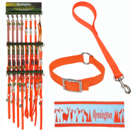 Remington Safety Orange Collar and Leash Display