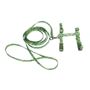 "Figure H Fashion Cat Adj Harness & Leash 18"" Green Dot"