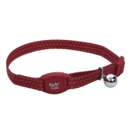 "SafeCat Adj Breakaway Collar Magnetic Buckle 12"" Garnet PDot"