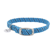 ElastaCat Reflective Safety Collar w/Charm Blue/Blk 10""