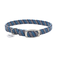 ElastaCat Reflective Safety Collar w/Charm Grey/Blue 10""