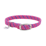 ElastaCat Reflective Safety Collar w/Charm Pink 10""