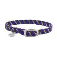 ElastaCat Reflective Safety Collar w/Charm Purple 10""