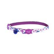 "SafeCat Adj Bkwy ""Flower Frenzy"" Cat Collar 12"" Purple"