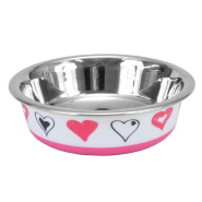Maslow Design Cat Bowl Hearts Pink & White 06 oz