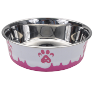 Maslow Design Bowl Paw Pink/White 13 oz