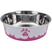 Maslow Design Bowl Paw Pink/White 28 oz