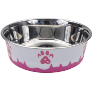 Maslow Design Bowl Paw Pink/White 54 oz