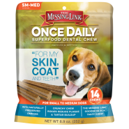 The Missing Link Dog Skin & Coat Dental Chews SM/MED 14 ct