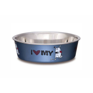 Bella Bowls Large I Love My Dog Steel Blue