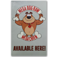 Mega Dog Available Here Window Cling