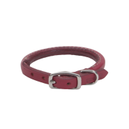 "CircleT Oak Tanned Leather Round Collar 3/8x12"" Red"
