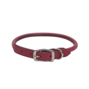 "CircleT Oak Tanned Leather Round Collar 5/8x16"" Red"