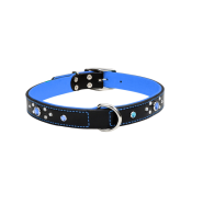 "CircleT Fashion Leather Collar w/Jewels 1x22"" Black/Blue"
