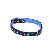 "CircleT Fashion Leather Collar w/Jewels 5/8x16"" Black/Blue"