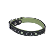 "CircleT Fashion Leather Collar w/Jewels 5/8x16"" Black/Green"